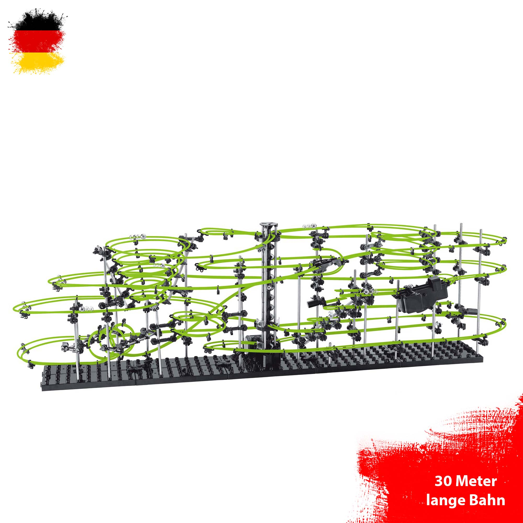 Level 5 Leuchteffekt Neon Kugelbahn Murmelbahn zum selber bauen 30 Meter Länge